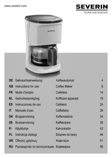 Severin KA 4484 Cafetière électrique »START« - Istruzioni d'uso