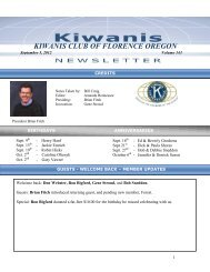 KIWANIS CLUB OF FLORENCE OREGON - KiwanisOne.org