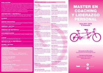 MASTER EN COACHING Y LIDERAZGO PERSONAL - Institut Gomà