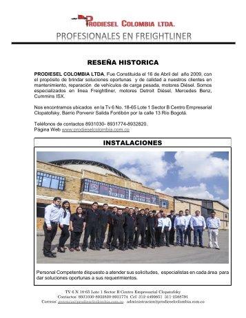 PORTAFOLIO DE SERVICIOS PRODIESEL COLOMBIA LTDA