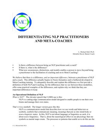 differentiating nlp practitioners and meta-coaches - Meta-Coaching