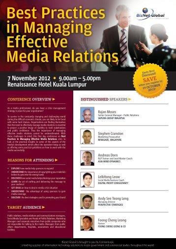 Best Practices in Managing Effective Media Relations