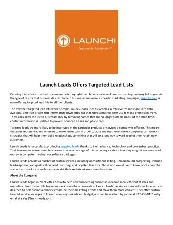Launch Leads Offers Targeted Lead Lists
