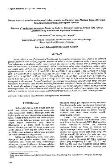Respon Antera Anthurium andreanum Linden ex ... - ISJD PDII LIPI