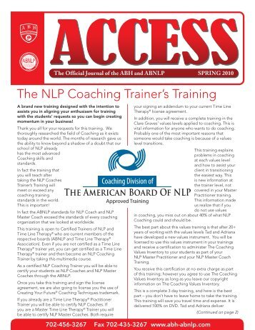 The NLP Coaching Trainer's Training - American Board of ...
