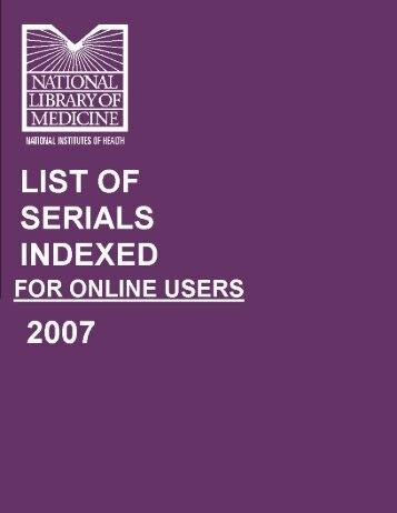 list of serials indexed