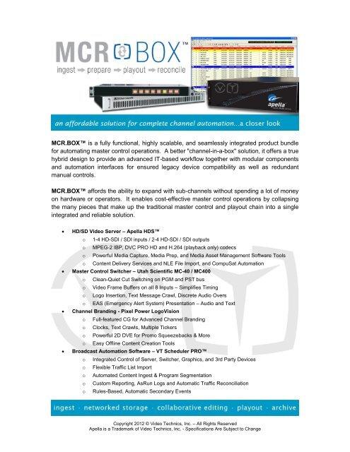 Download Brochure - Video Technics, Inc