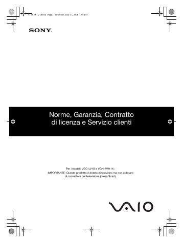Sony VGN-SR29VN - VGN-SR29VN Documents de garantie Italien