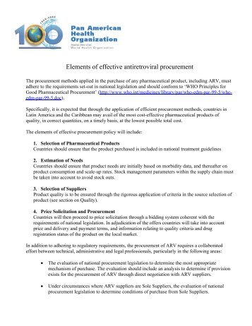 Elements of effective antiretroviral procurement - PAHO/WHO