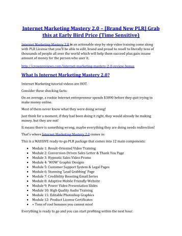 Internet Marketing Mastery 2.0 Review and GIANT $12700 Bonus-80% Discount