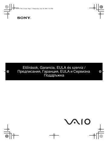Sony VGN-SR29VN - VGN-SR29VN Documents de garantie Hongrois