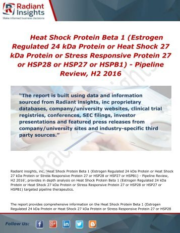 Heat Shock Protein Beta 1 (Heat Shock 27 kDa Protein ) - Pipeline Review, H2 2016