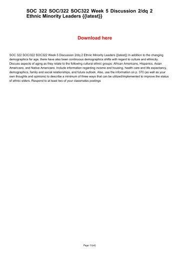 SOC 322 SOC/322 SOC322 Week 5 Discussion 2/dq 2 Ethnic Minority Leaders {{latest}}