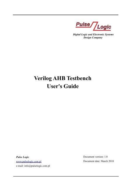 Verilog AHB Testbench User's Guide