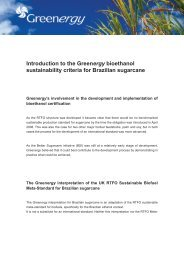 Introduction to the Greenergy bioethanol sustainability criteria for ...