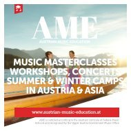 AME - MUSIC MASTERCLASSES WORKSHOPS, CONCERTS SUMMER & WINTER CAMPS IN AUSTRIA & ASIA