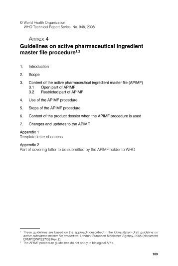 Guidelines on active pharmaceutical ingredient master file procedure