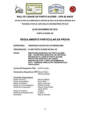 RPP - Regulamento Particular da Prova - Clube Porto Alegre Rallye