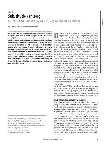 Substitutie van zorg Wat weten we, wat moeten we weten en wat moeten we doen (ntvg 2017) (gesleept)