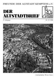 Liebe Leser des Altstadtbriefes! - Freunde der Altstadt Kemptens eV