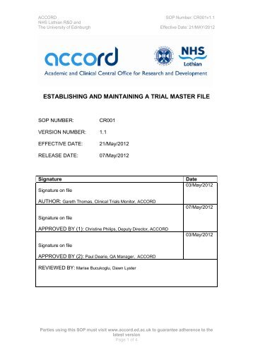 Establishing and maintaining a Trial Master File - accord - University ...