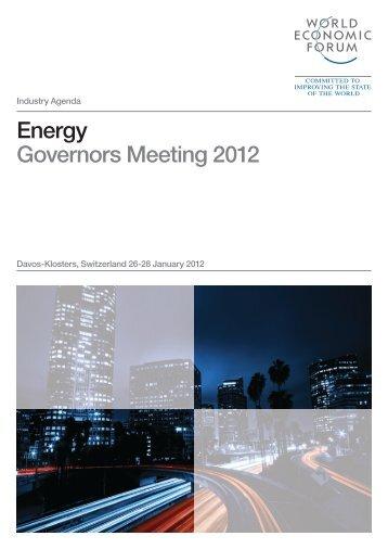 Energy Governors Meeting 2012 - World Economic Forum
