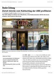 Zürich könnte vom Kahlschlag der UBS profitieren ... - Branders