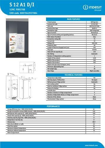 KitchenAid S 12 A1 D/I - Refrigerator - S 12 A1 D/I - Refrigerator EN (F093708) Informations produit