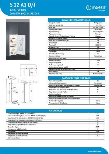 KitchenAid S 12 A1 D/I - Refrigerator - S 12 A1 D/I - Refrigerator FR (F093708) Informations produit
