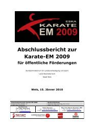 Abschlussbericht zur Karate-EM 2009 - Karate EM 2009 in Wels