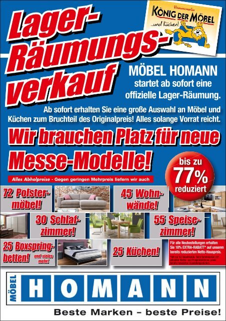 Großer Lagerräumungsverkauf bei Möbel Homann!