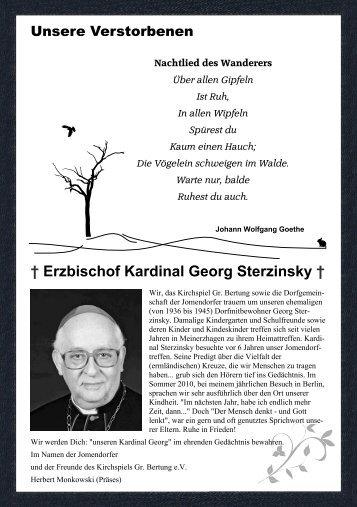 Erzbischof Kardinal Georg Sterzinsky † Unsere Verstorbenen