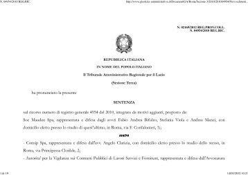 TAR Lazio Roma sez. III 2/3/2012 - Appalti e Contratti