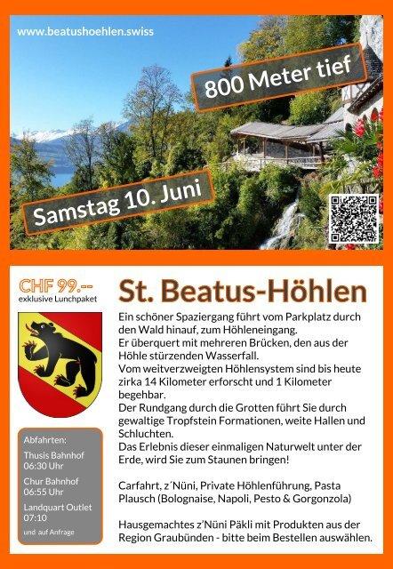St. Beatus-Höhlen Samstag 10. Juni Flyer Rückseite bis Juni 2017