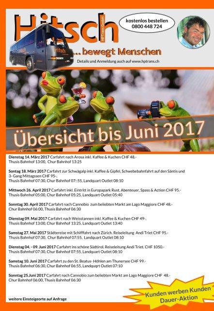 Säntis Sonntag 18. März, Tagesreise Flyer Rückseite bis Juni 2017