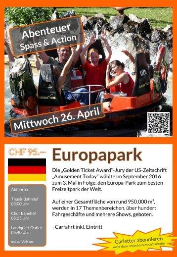 Europapark Mittwoch 26. April Flyer Rückseite bis Juni 2017
