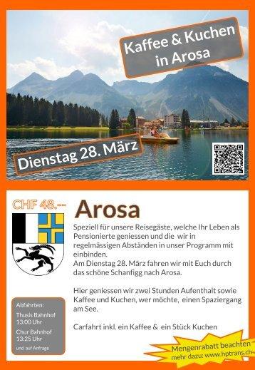 Arosa Dienstag 28. März, Halbtagesauflug Flyer Rückseite bis Juni 2017