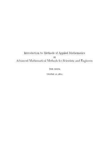 Introduction to Methods of Applied Mathematics or Advanced ...