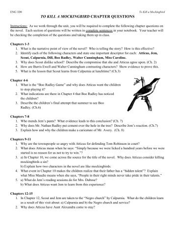 to kill a mockingbird chapter 13 questions