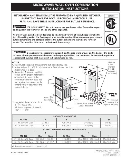 Enjoyable Wall Oven Combination Installation Instructions Wiring Cloud Hisonuggs Outletorg