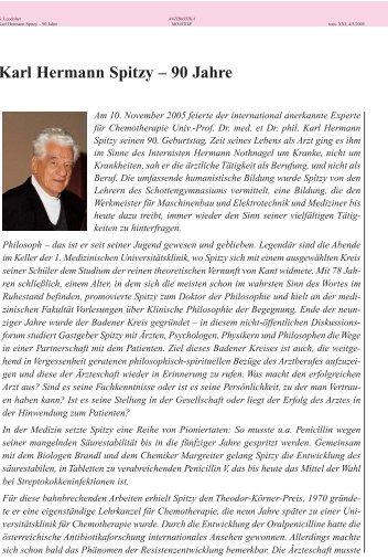 Karl Hermann Spitzy – 90 Jahre - Antibiotika Monitor