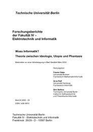 Technische Universität Berlin Forschungsberichte der Fakultät IV ...