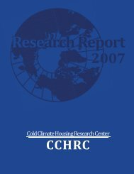 2007 CCHRC 2007 Annual Research Report - Cold Climate ...