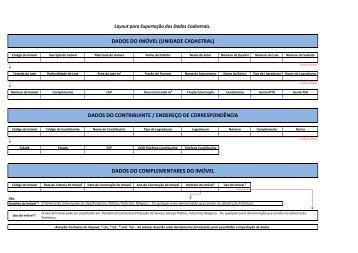 Layout de Exportação - Dados Cadastrais