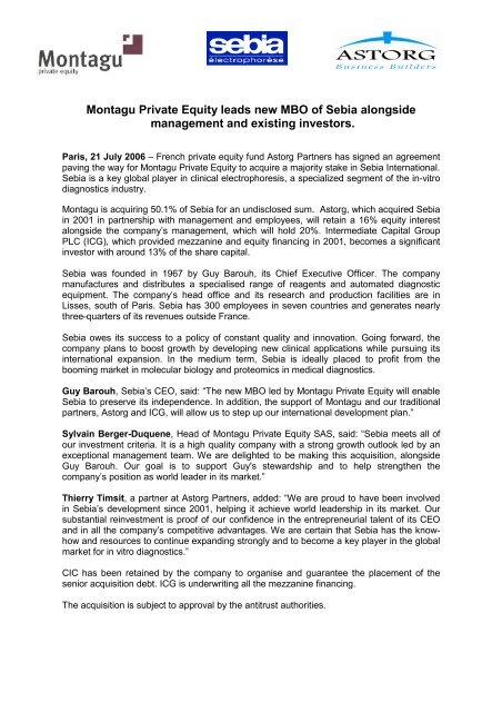Montagu Private Equity Leads New Mbo Of Sebia Astorg Partners