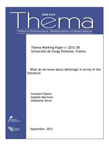 What do we know about delistings? A survey - thema - Université de ...