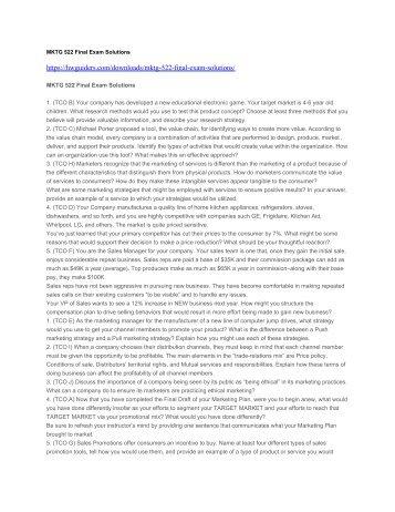 Mktg 522 final exam questions