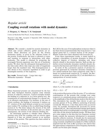 Regular article Coupling overall rotations with modal dynamics