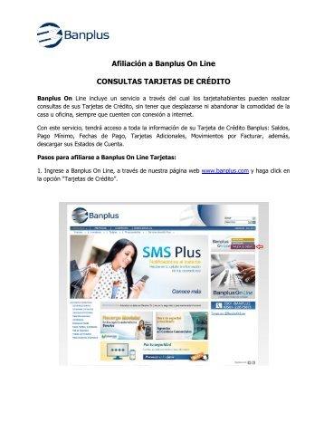 Afiliación a Banplus On Line CONSULTAS TARJETAS DE CRÉDITO