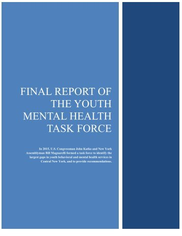 FINAL REPORT OF THE YOUTH MENTAL HEALTH TASK FORCE